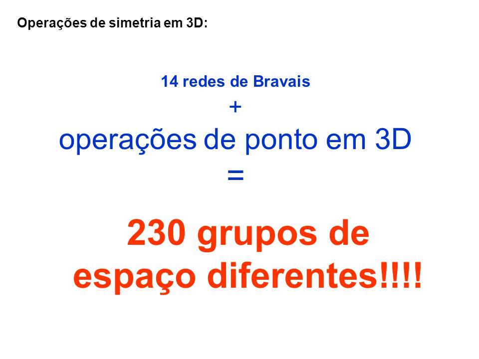 230 grupos de espaço diferentes!!!!