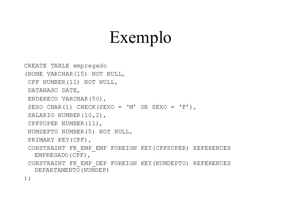 Exemplo CREATE TABLE empregado (NOME VARCHAR(15) NOT NULL,