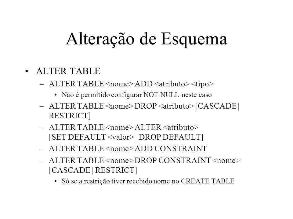 Alteração de Esquema ALTER TABLE