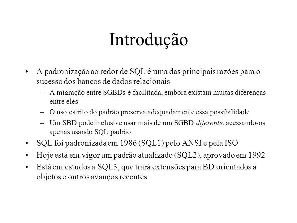 Introdução A padronização ao redor de SQL é uma das principais razões para o sucesso dos bancos de dados relacionais.