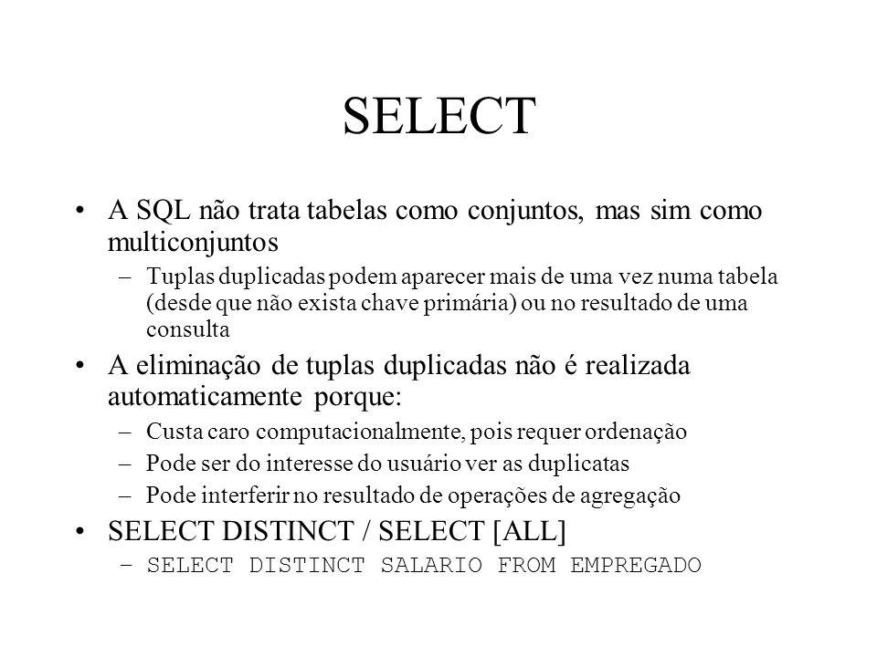 SELECT A SQL não trata tabelas como conjuntos, mas sim como multiconjuntos.