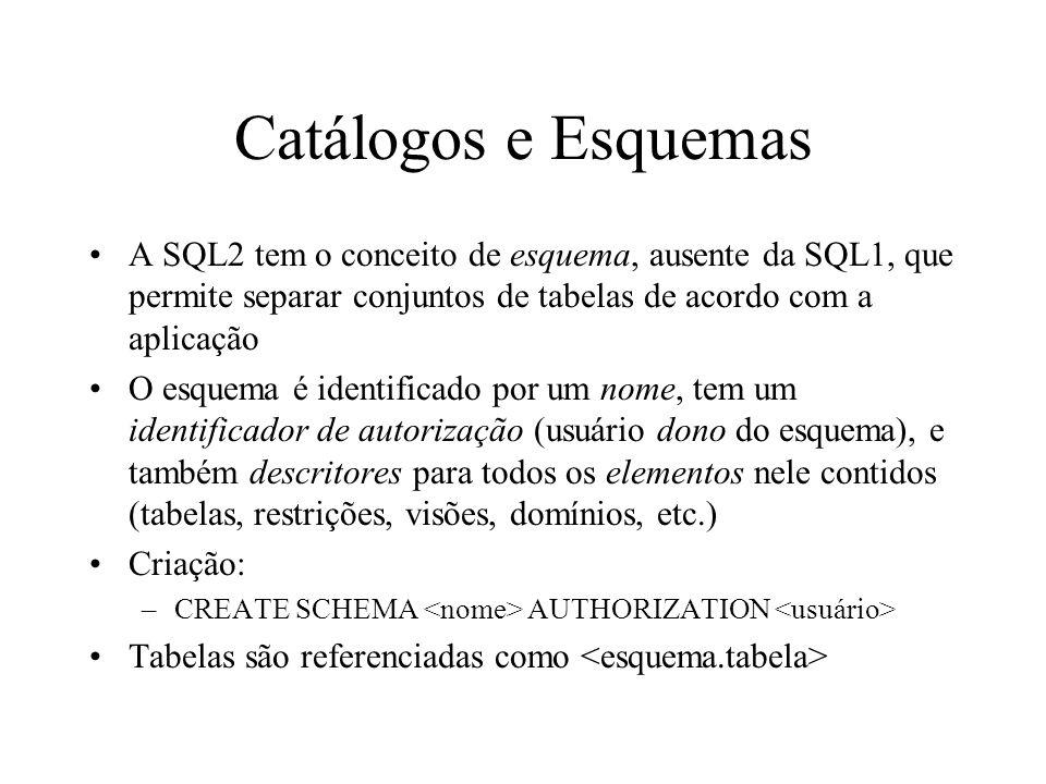 Catálogos e Esquemas A SQL2 tem o conceito de esquema, ausente da SQL1, que permite separar conjuntos de tabelas de acordo com a aplicação.