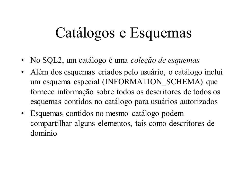 Catálogos e Esquemas No SQL2, um catálogo é uma coleção de esquemas