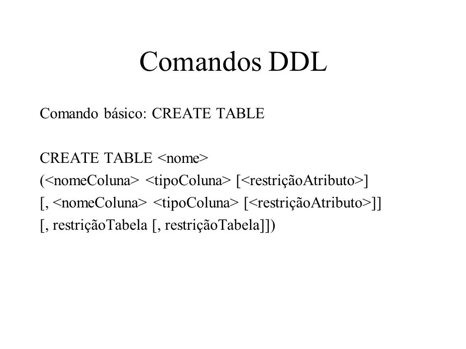 Comandos DDL Comando básico: CREATE TABLE CREATE TABLE <nome>