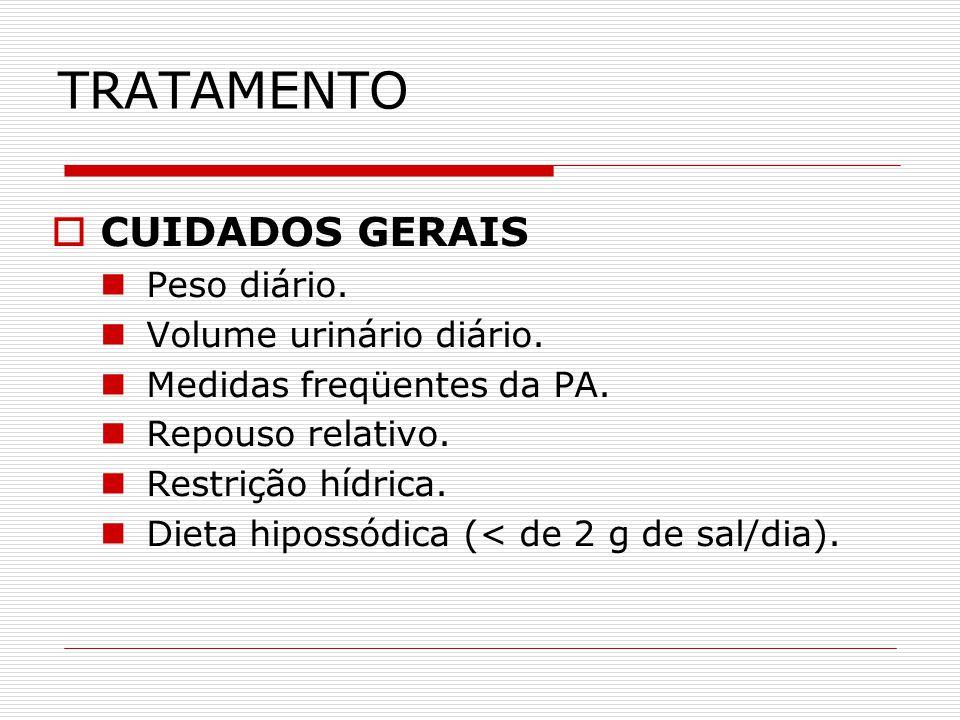 TRATAMENTO CUIDADOS GERAIS Peso diário. Volume urinário diário.