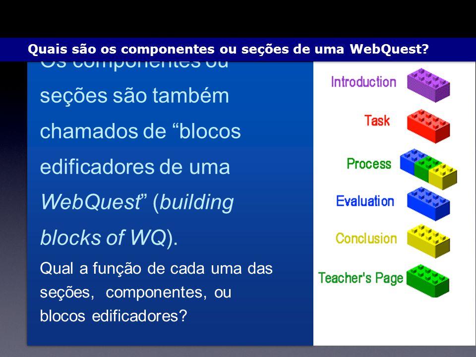 Quais são os componentes ou seções de uma WebQuest