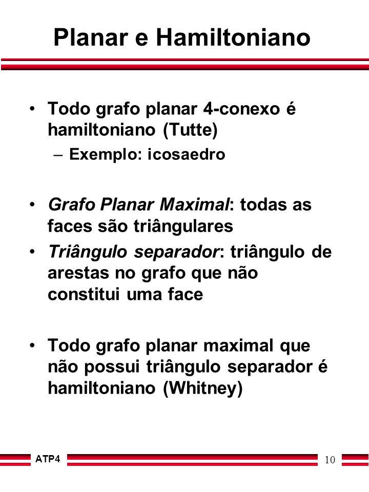 Planar e Hamiltoniano Todo grafo planar 4-conexo é hamiltoniano (Tutte) Exemplo: icosaedro. Grafo Planar Maximal: todas as faces são triângulares.