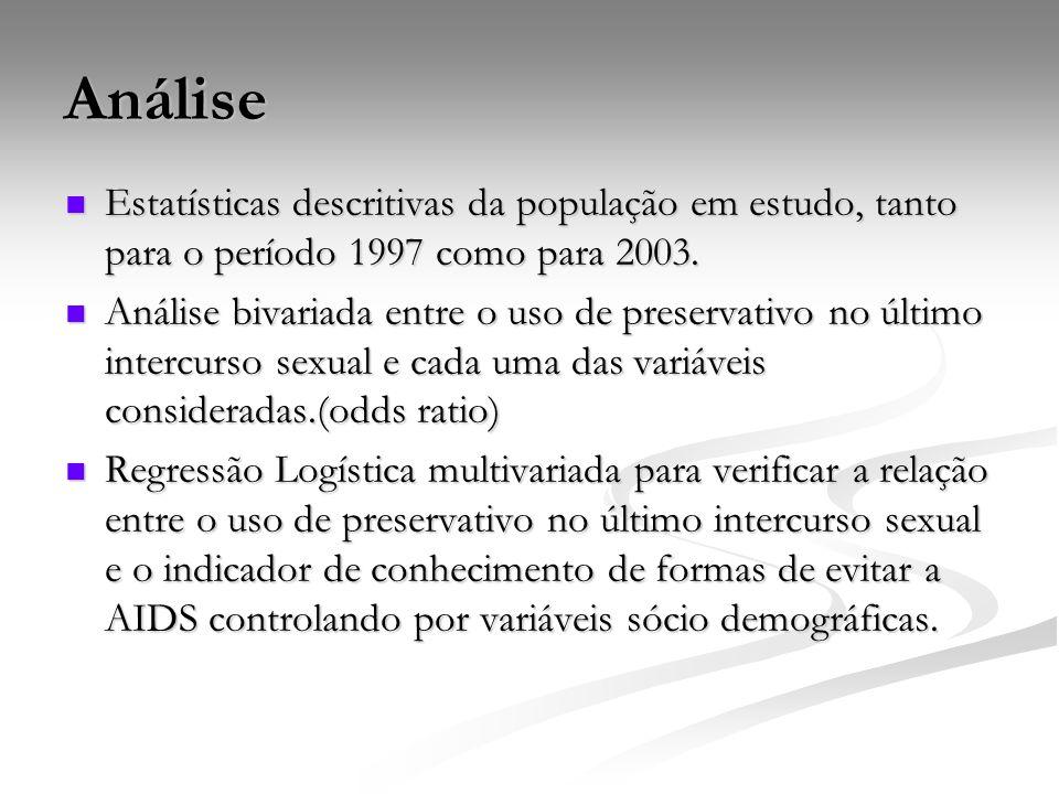 Análise Estatísticas descritivas da população em estudo, tanto para o período 1997 como para 2003.