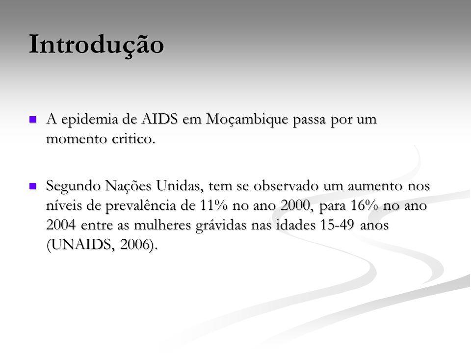Introdução A epidemia de AIDS em Moçambique passa por um momento critico.