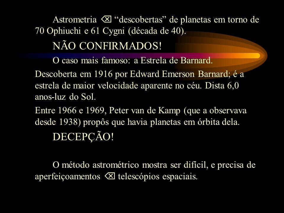 Astrometria  descobertas de planetas em torno de 70 Ophiuchi e 61 Cygni (década de 40).