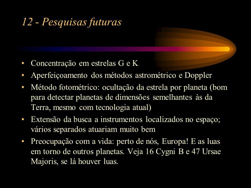 12 - Pesquisas futuras Concentração em estrelas G e K