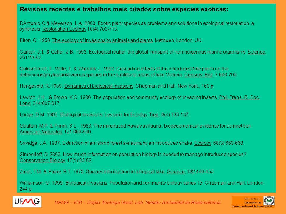 Revisões recentes e trabalhos mais citados sobre espécies exóticas: