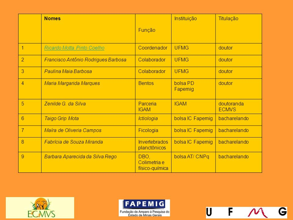 Nomes. Função. Instituição. Titulação. 1. Ricardo Motta Pinto Coelho. Coordenador. UFMG. doutor.