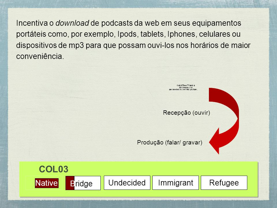 Incentiva o download de podcasts da web em seus equipamentos portáteis como, por exemplo, Ipods, tablets, Iphones, celulares ou dispositivos de mp3 para que possam ouvi-los nos horários de maior conveniência.