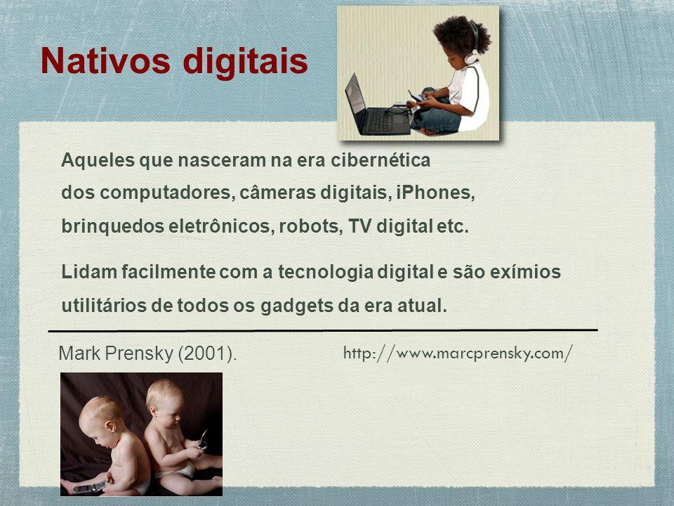 Nativos digitais Aqueles que nasceram na era cibernética