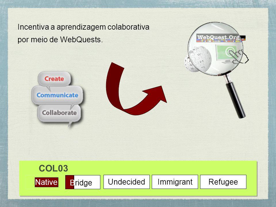 COL03 Incentiva a aprendizagem colaborativa por meio de WebQuests.