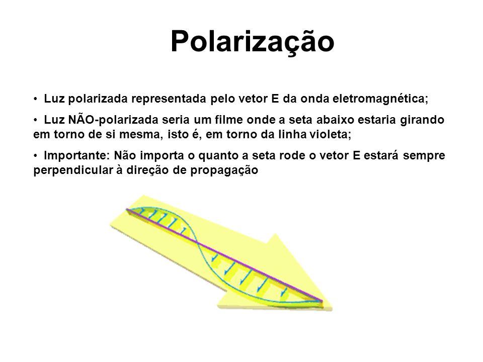 Polarização Luz polarizada representada pelo vetor E da onda eletromagnética;