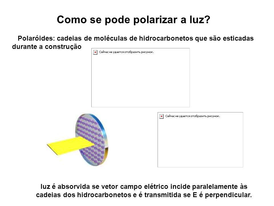 Como se pode polarizar a luz