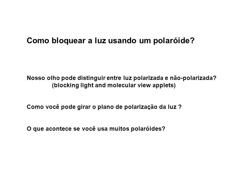 Como bloquear a luz usando um polaróide