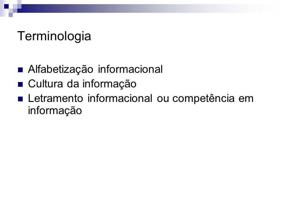 Terminologia Alfabetização informacional Cultura da informação