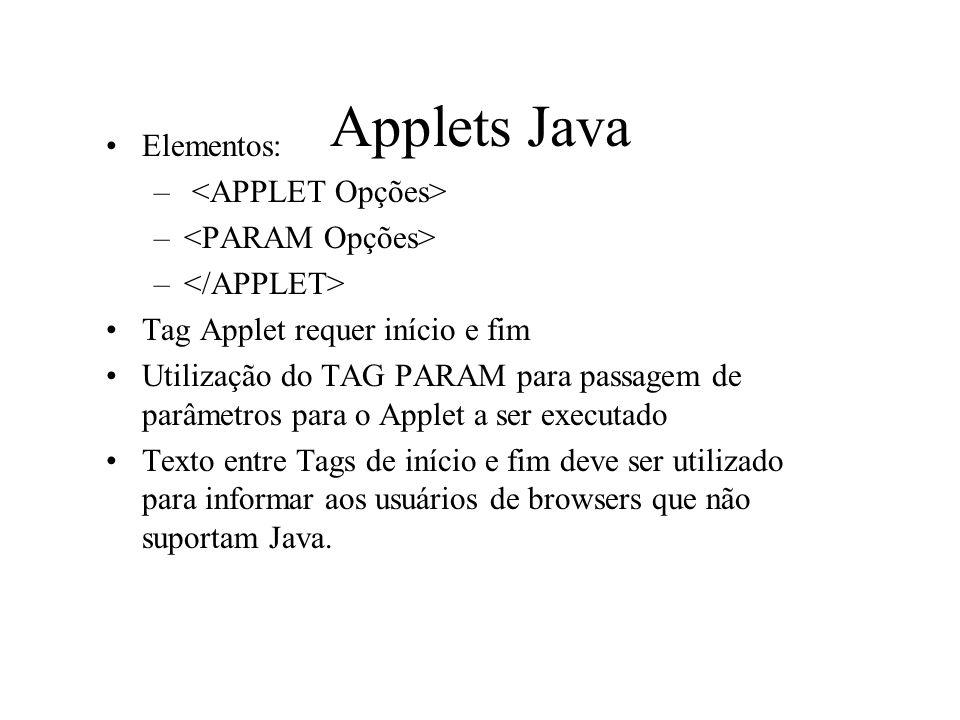 Applets Java Elementos: <APPLET Opções> <PARAM Opções>