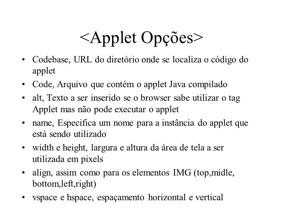 <Applet Opções>