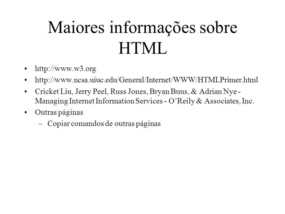 Maiores informações sobre HTML