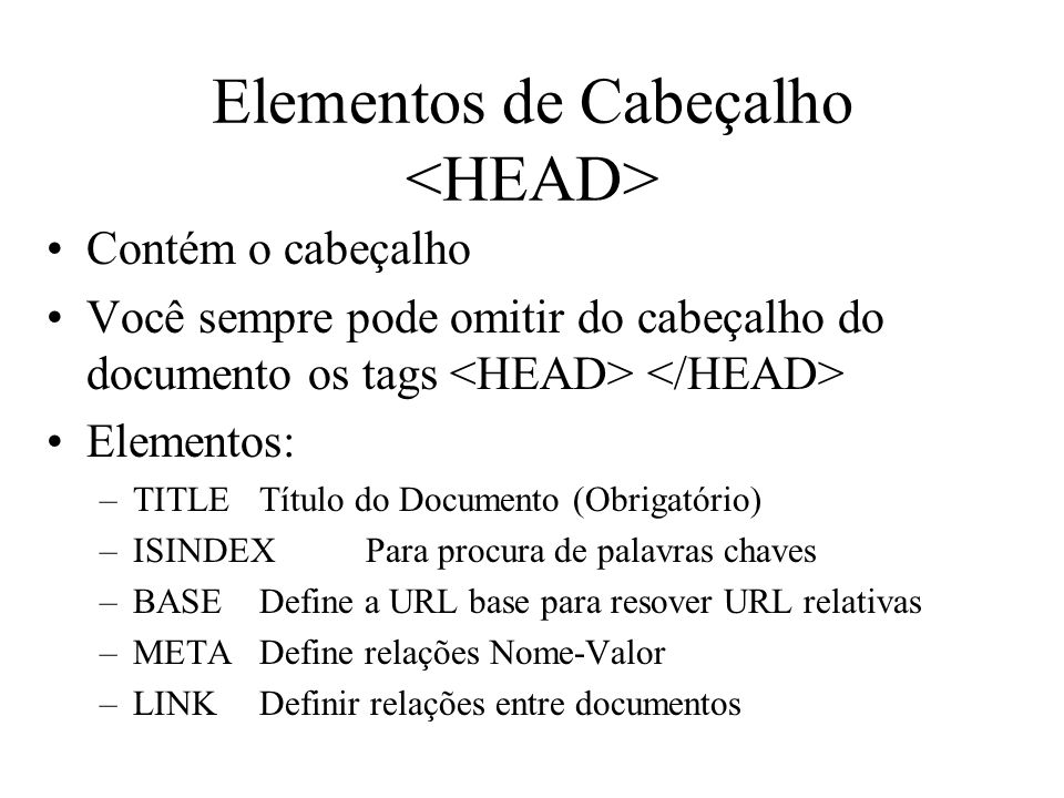 Elementos de Cabeçalho <HEAD>