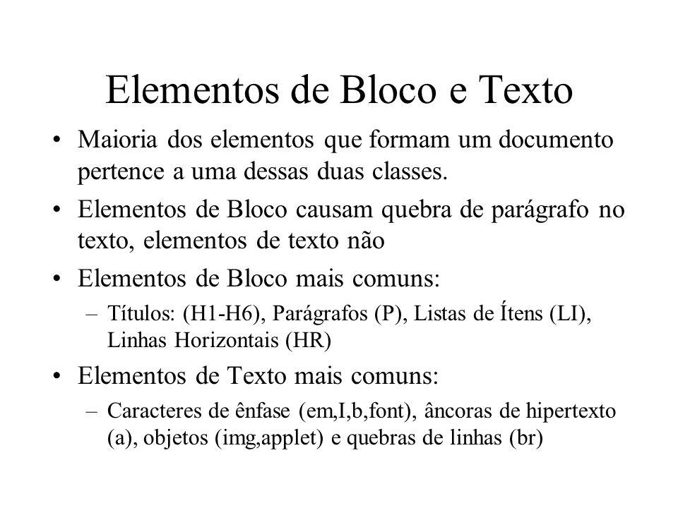 Elementos de Bloco e Texto
