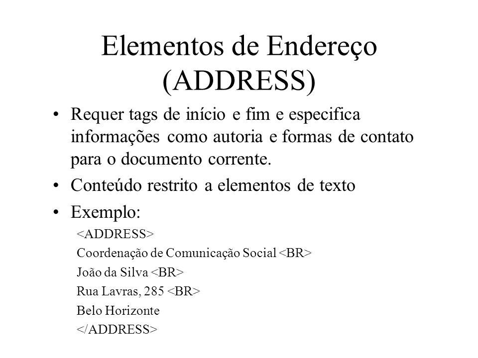 Elementos de Endereço (ADDRESS)
