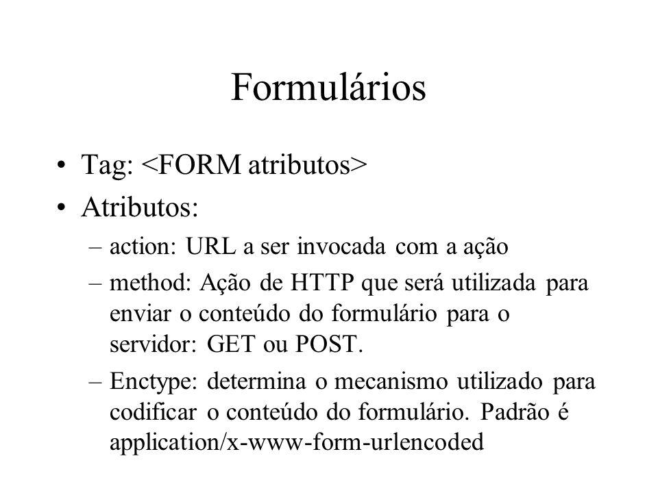 Formulários Tag: <FORM atributos> Atributos: