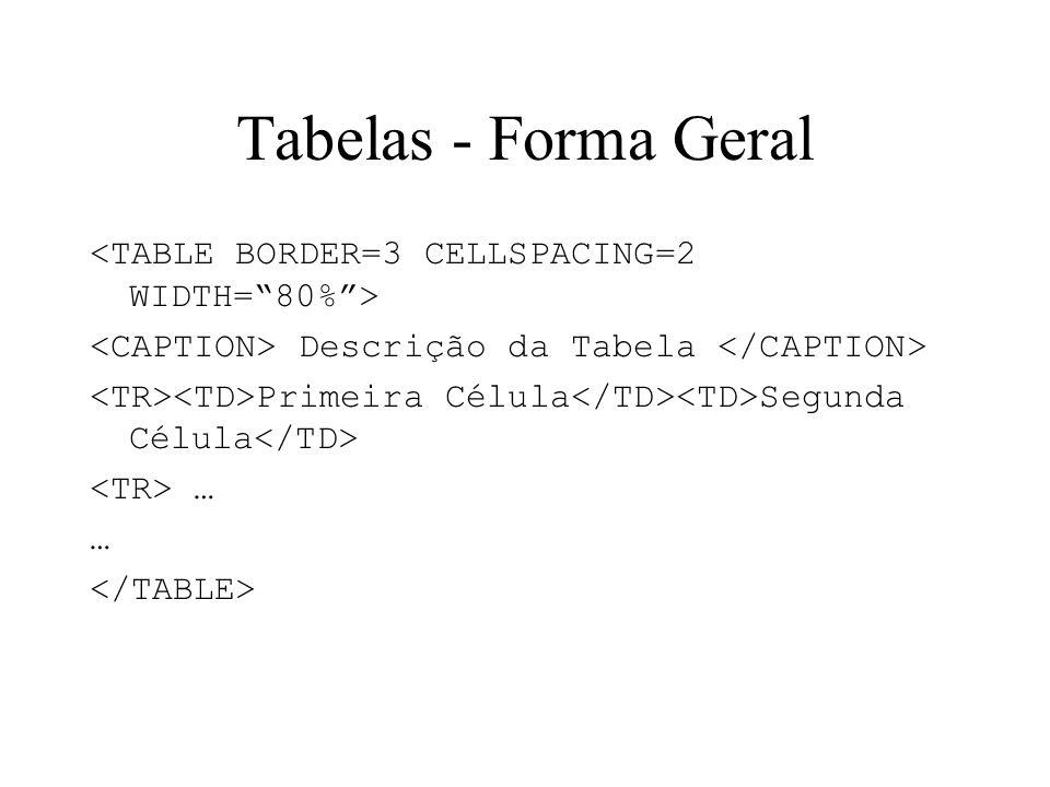 Tabelas - Forma Geral <TABLE BORDER=3 CELLSPACING=2 WIDTH= 80% >