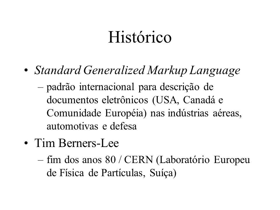 Histórico Standard Generalized Markup Language Tim Berners-Lee