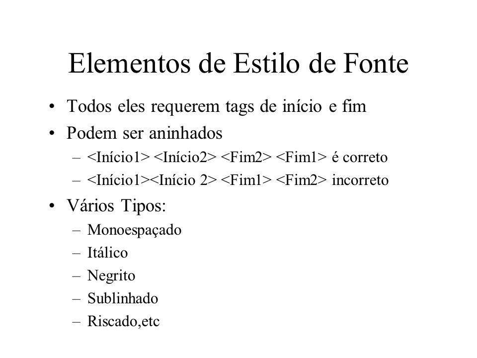 Elementos de Estilo de Fonte