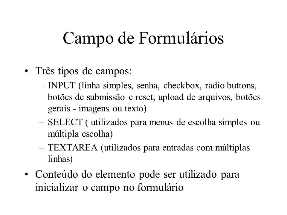 Campo de Formulários Três tipos de campos: