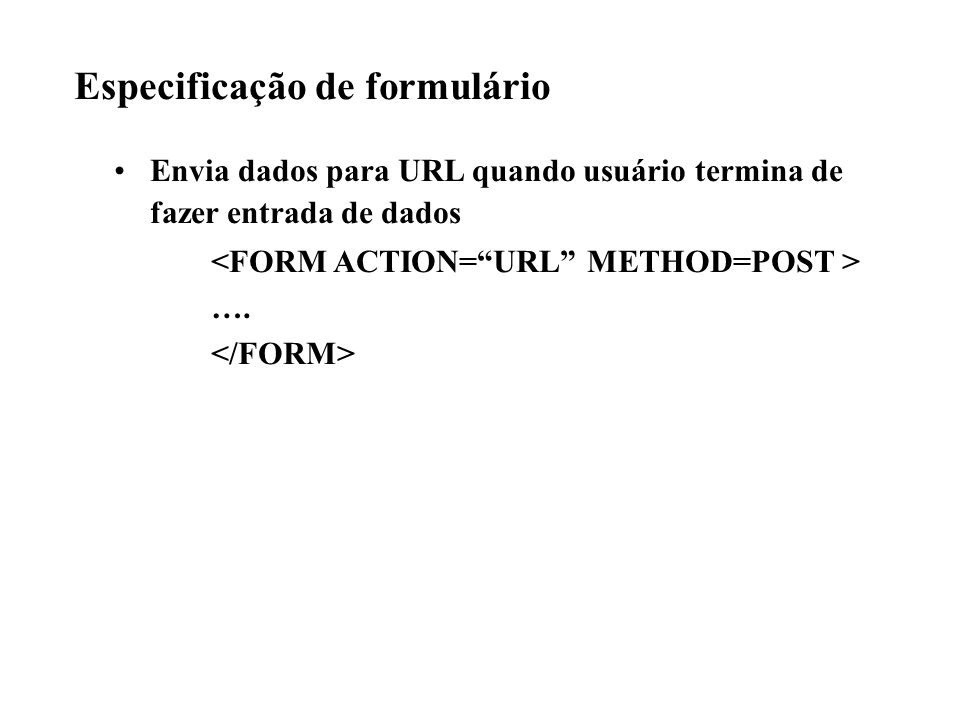 Especificação de formulário