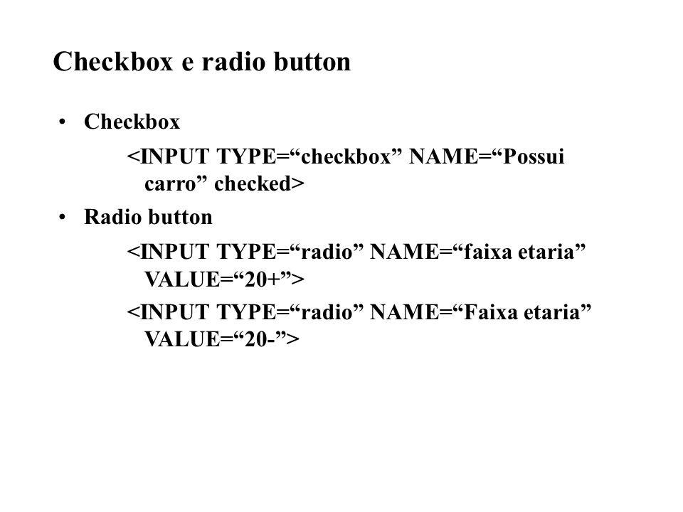 Checkbox e radio button