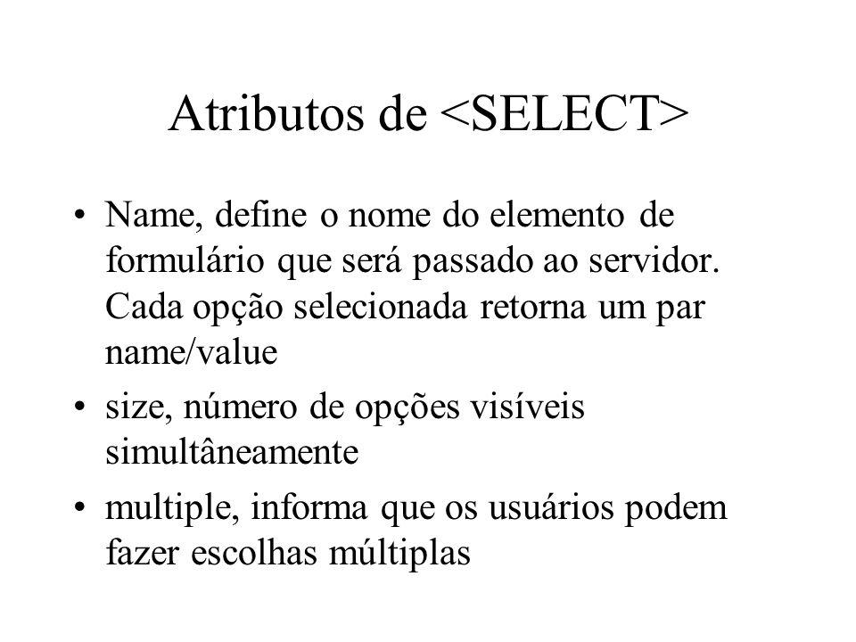 Atributos de <SELECT>