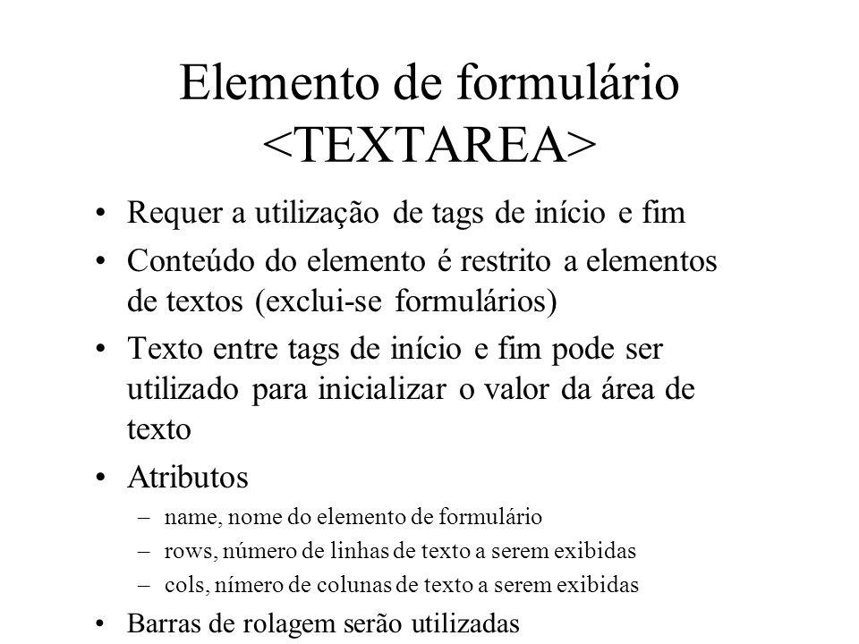 Elemento de formulário <TEXTAREA>