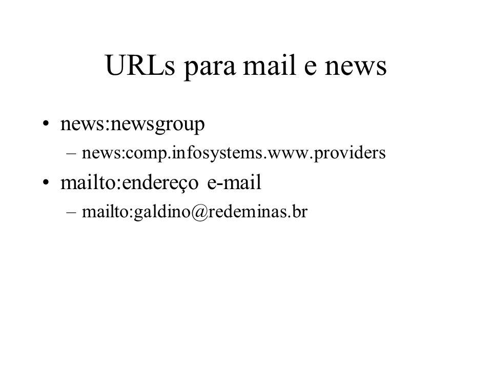 URLs para mail e news news:newsgroup mailto:endereço e-mail