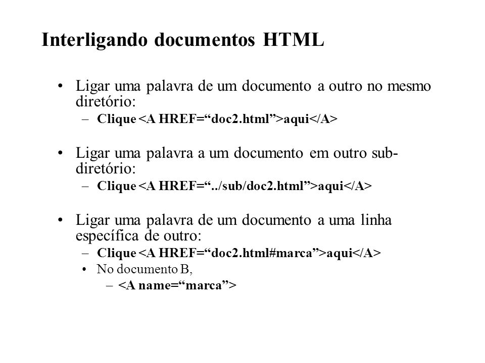 Interligando documentos HTML