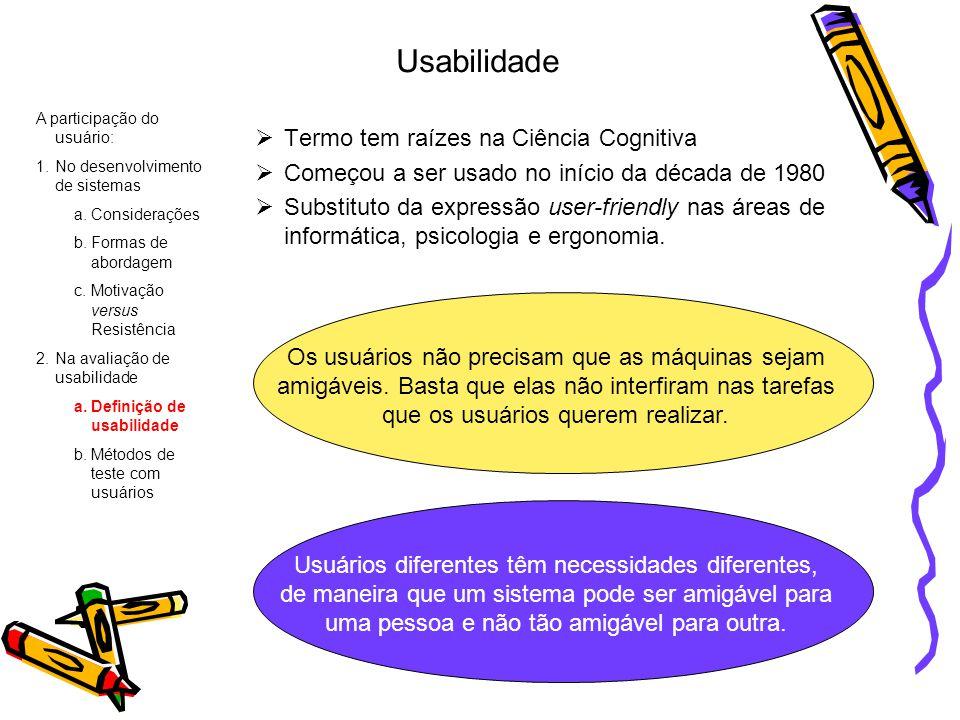 Usabilidade Termo tem raízes na Ciência Cognitiva