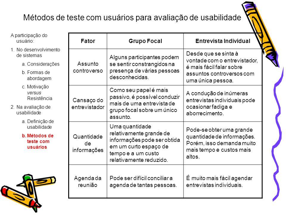 Métodos de teste com usuários para avaliação de usabilidade