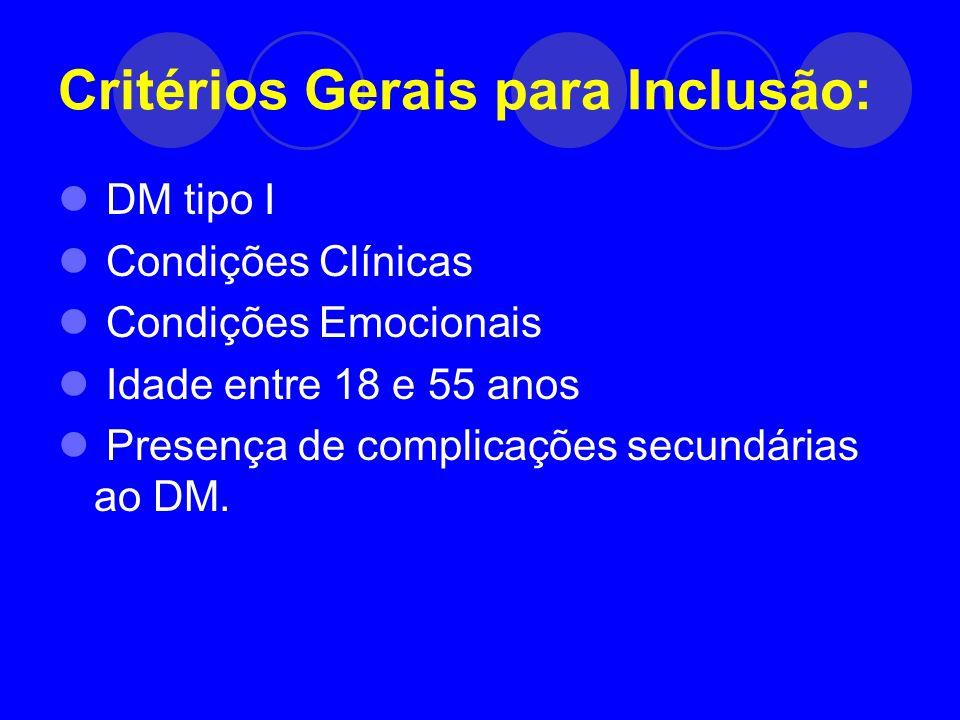Critérios Gerais para Inclusão: