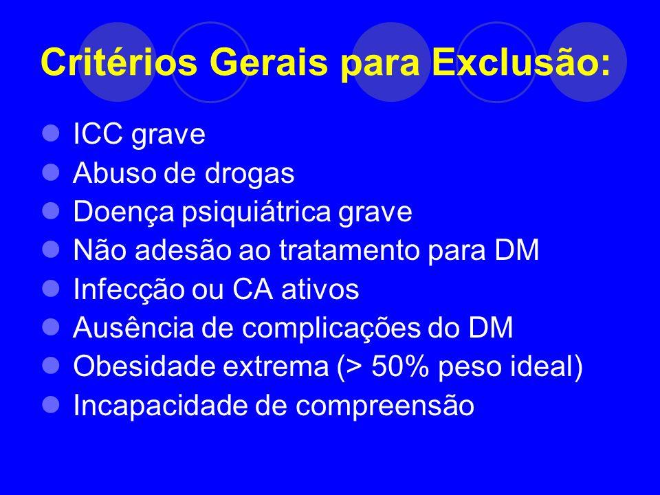 Critérios Gerais para Exclusão: