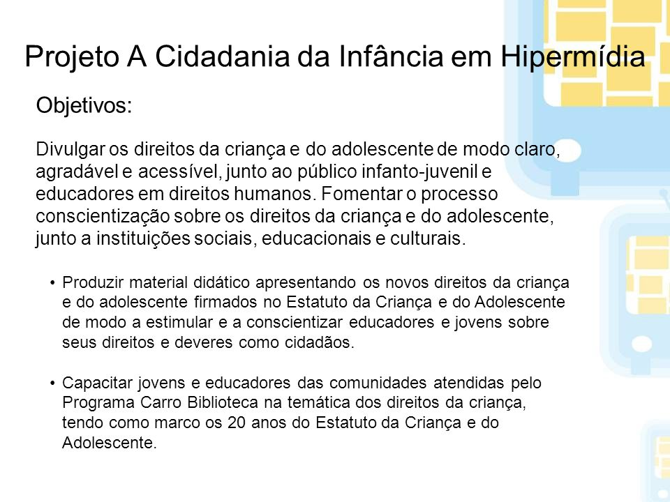 Projeto A Cidadania da Infância em Hipermídia