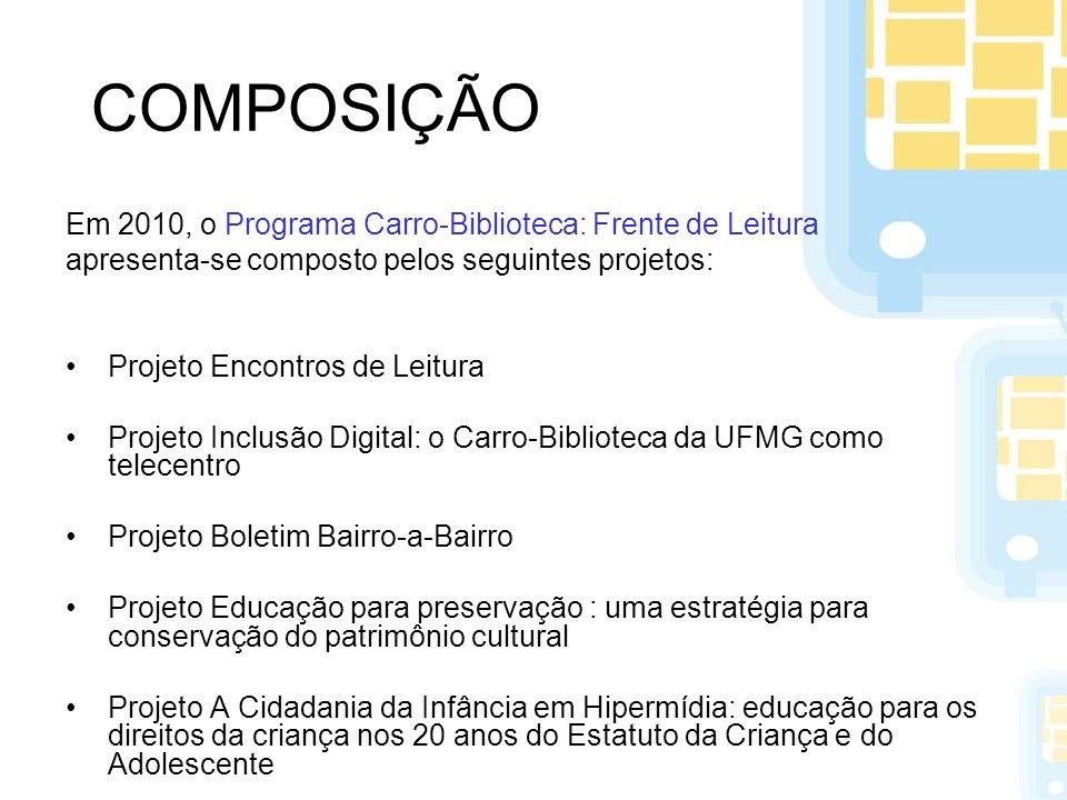COMPOSIÇÃO Em 2010, o Programa Carro-Biblioteca: Frente de Leitura