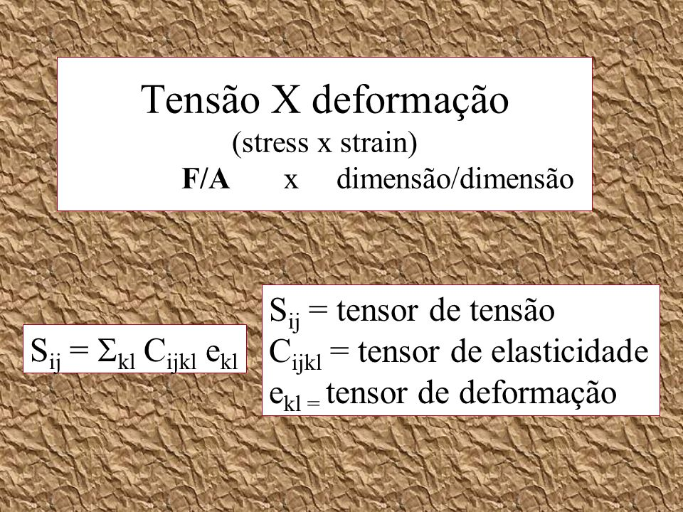 Tensão X deformação (stress x strain) F/A x dimensão/dimensão