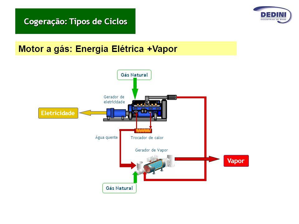 Motor a gás: Energia Elétrica +Vapor