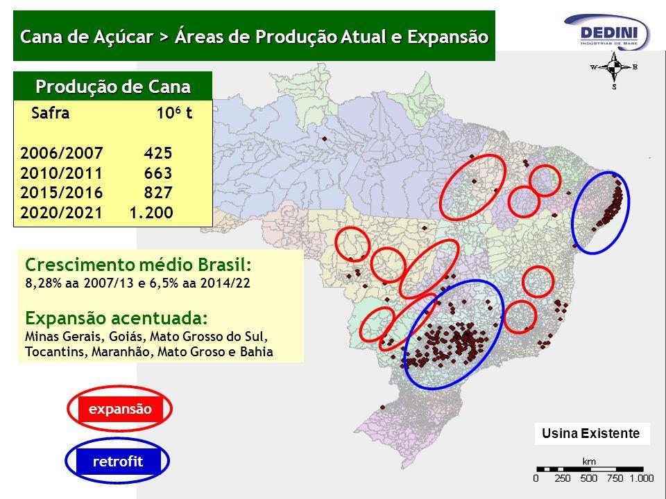 Cana de Açúcar > Áreas de Produção Atual e Expansão